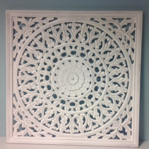 Large Off White Carved Wall Panels