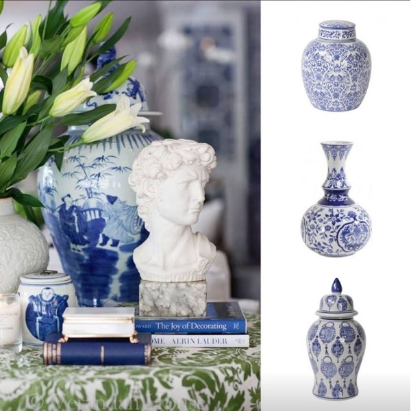 Chinoiserie Blue And White Floral Print Ceramic Vase