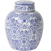 Chinoiserie Blue And White Ceramic Flat Top Jar