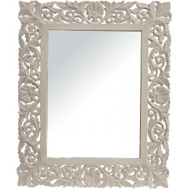 Grey Hand Carved Rectangular Mirror