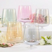 Hand Blown Pink Lustre Glass Hurricane