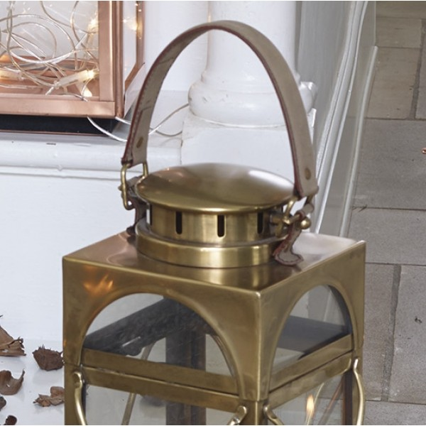 Antique Brass Floor Standing Lantern - Medium