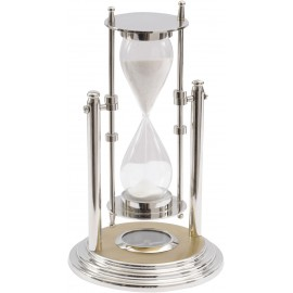 Nickel And Brass Revolving Sandtimer With Compass.