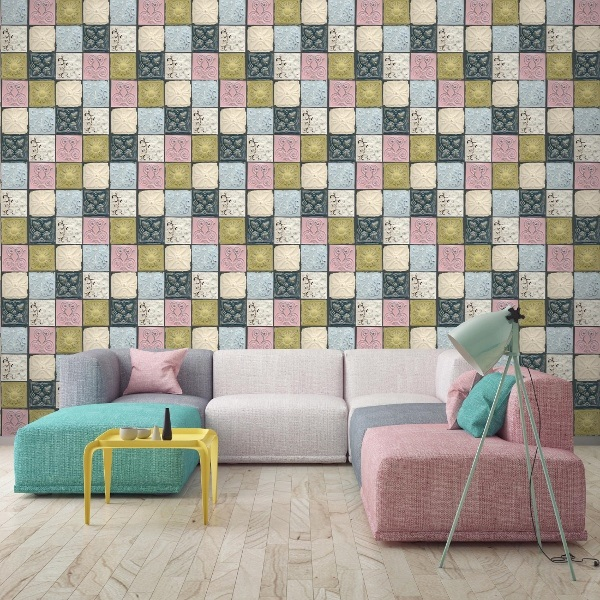 Designer Wallpaper - Antique Tin Tiles – Pastel