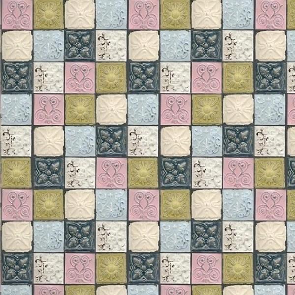 designer wallpaper antique tin tiles pastel yorkshire uk