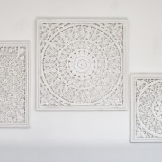 Marvelous Large Off White Carved Wall Panel