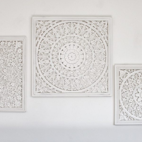 Smaller Off White Carved Wall Panel