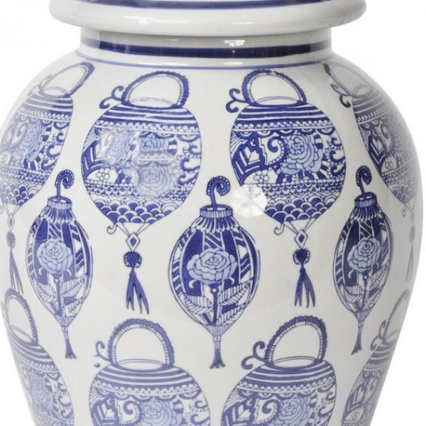 Chinoiserie Blue And White Lantern Print Ceramic Ginger Jar