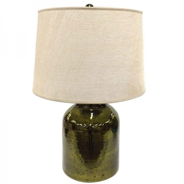 Olive Green Table Lamp with Linen Shade