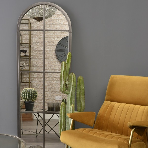 Graphite Arch Iron Mirror - Tall