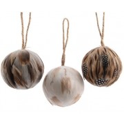 Luxury Feather Baubles with Jute Hangers