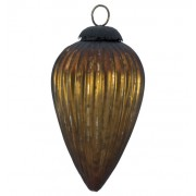 Amber Glass Pine Cone Bauble
