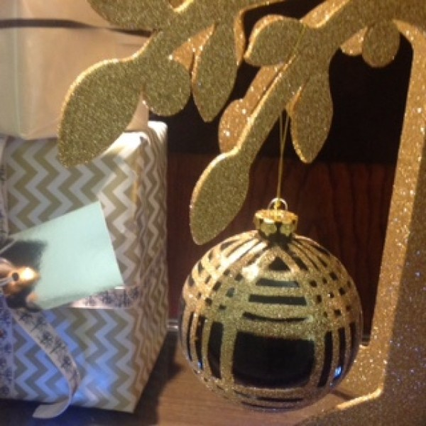 Glass Deco Check Baubles Black and Gold