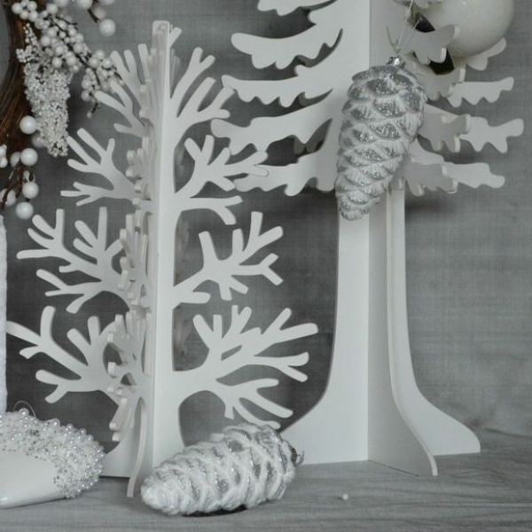 White and Silver Glass Pinecones