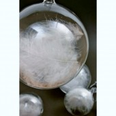 Small Glass Bauble with White Feathers