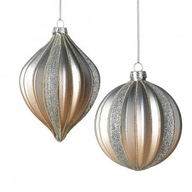 Rose Gold And Silver Bauble Mix Set Of Two