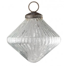 Ribbed Clear Glass Onion Bauble