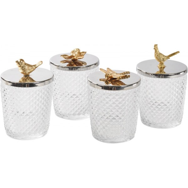 Set Of 4 Diamond Cut Glass Jars with Gold Detail