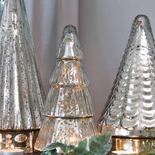 Set Of Three Mirror Glass Trees