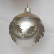 Silver Coloured Glass Baubles with Leaf Pattern Design