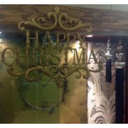 Gold Coloured Happy Christmas Sign
