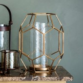 Cage Lantern with Distressed Gold Finish