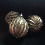 Luxury Glass Distressed Gold Coloured Baubles set of four
