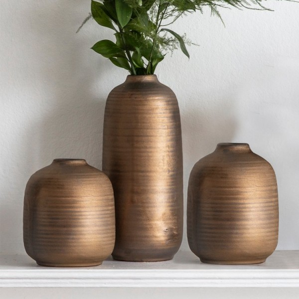 Set Of 3 Vases with A Bronzed Finish