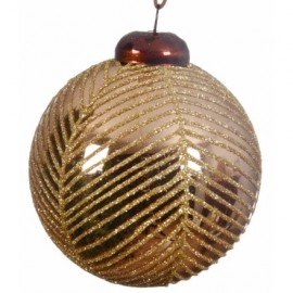 Copper Coloured Bauble with Glitter Stripes
