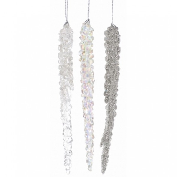 Icicle Hanging Decorations - Silver only