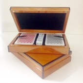 Wooden Card Box with Black Trim and Gloss Finish