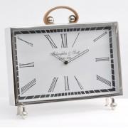 Jefferson Rectangular Leather and Nickel Mantel Clock