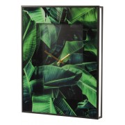 Green Palm Print Wall Clock