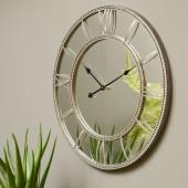 Grey Beaded Mirrored Wall Clock