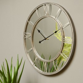 Grey Beaded Mirrored Wall Clock