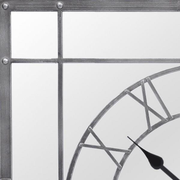 Grey Framed Mirrored Wall Clock