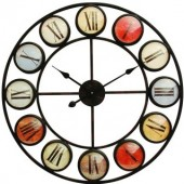 Smarty Iron Clock Roman Numerals Coloured Domed Glass