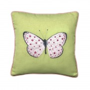 Embroidered Spotty Pink Butterfly-Cushion