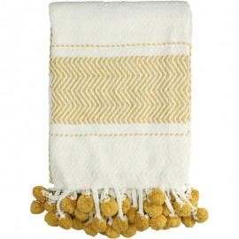 Cotton Throw with Chevron Pattern and Pom Poms