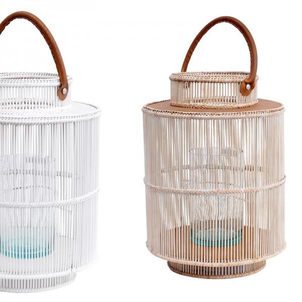 Round Rattan & Bamboo Lantern - Whitewash