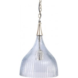 Ribbed Glass Pendant Light-Grey