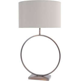 Bronze Circular Table Lamp with 20'' Taupe Shade