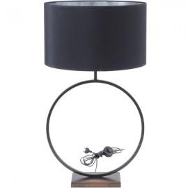 Bronze Circular Table Lamp with 20'' Black Shade