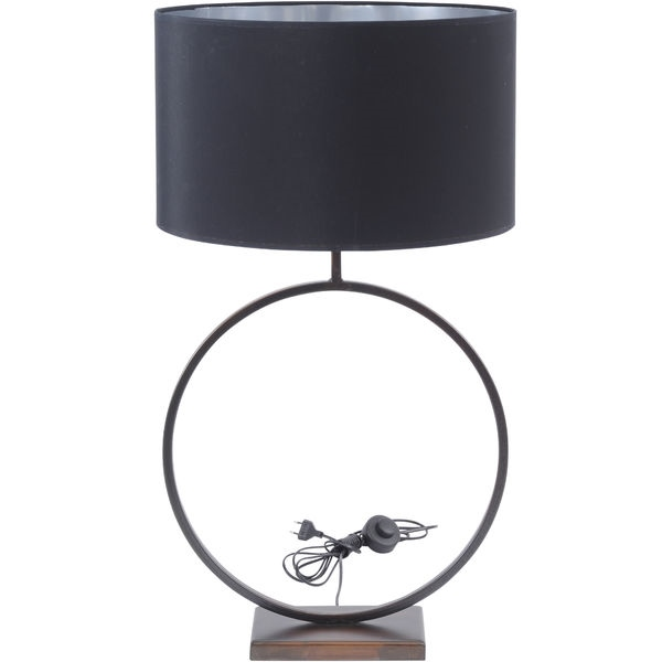 Bronze Circular Table Lamp with 20'' Black Shade