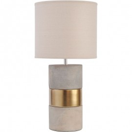 Concrete and Gold Lamp with Natural Shade