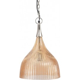 Ribbed Glass Pendant Light-Peach