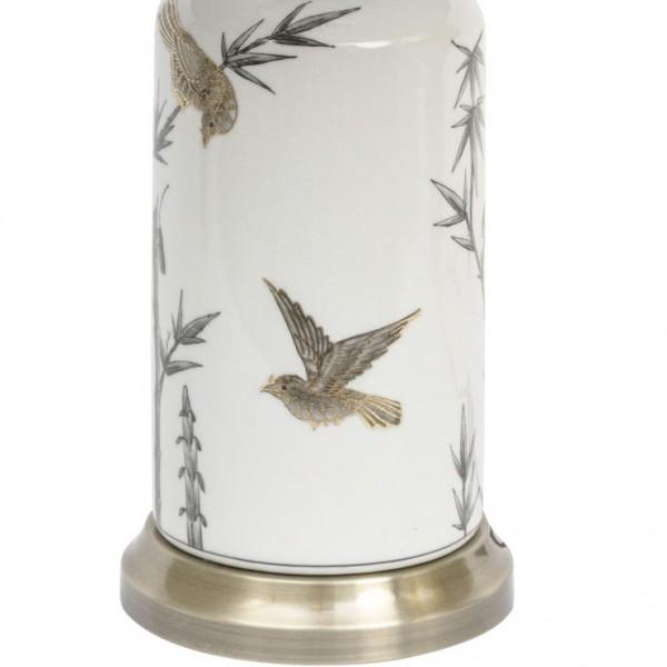Bunting Bird Gilded Ceramic Lamp and Shade