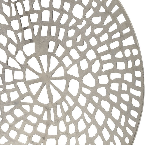 Coral Design Round Wall Plaque Silver