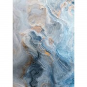 Blue and Gold Marble Effect Glass Wall Art
