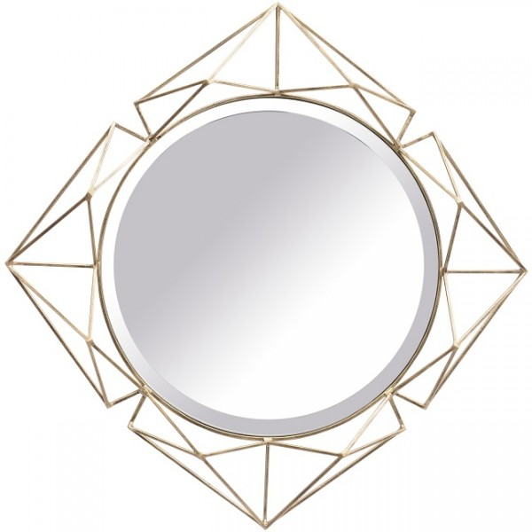 Platonic Antique Gold Diamond Mirror